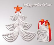 Paper Christmas tree with gifts Royalty Free Stock Photo
