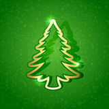 Paper Christmas tree on green background Royalty Free Stock Images