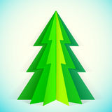 Paper christmas tree. Green paper christmas tree greeting card template Royalty Free Stock Photos