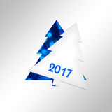 2017, paper christmas tree greeting card. 2017, paper christmas tree square greeting card vector illustration