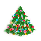 Paper Christmas tree, hand made quilling. Stock Photo