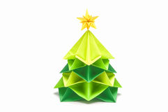 Paper Christmas tree have star topper Stock Photos