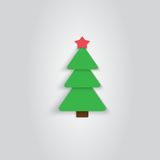 Paper Christmas Tree Icon. New Year. Flat Style. Made in vector Stock Photo