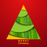 Paper christmas tree on red background Stock Photo