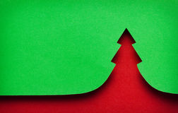 Paper Christmas tree. Red and green royalty free stock photography