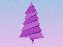 Paper Christmas tree. Rose Quartz and serenity of the background color. Vector. Illustration Royalty Free Stock Image