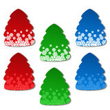 Paper Christmas tree - set of stickers Royalty Free Stock Photos