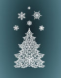 Paper Christmas tree and snowflakes Stock Photography