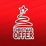 Paper Christmas tree, sticker - Christmas offer Stock Photography