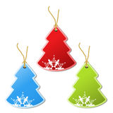 Paper Christmas tree, tag - snowflake decoration Royalty Free Stock Photography