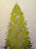 Paper with Christmas tree Stock Photography