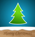 Paper Christmas tree with wooden board Royalty Free Stock Photos