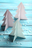 Paper Christmas trees Stock Photos