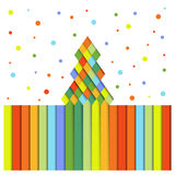 Paper Christmas trees of colored stripes Royalty Free Stock Photos