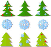 Paper Christmas trees, snowflakes vector Royalty Free Stock Image