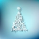 Paper christmass tree on blue. EPS 10 Stock Image