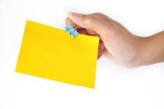 Paper cilp and yellow paper Stock Photo