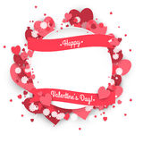 Paper circle banner with hearts background to the Day of St. Valentine. Royalty Free Stock Photography