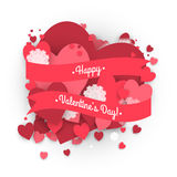 Paper circle banner with hearts background to the Day of St. Valentine. Royalty Free Stock Photo