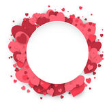 Paper circle banner with hearts background to the Day of St. Valentine. Stock Images