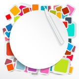 Paper Circle on Colorful Square Stickers Stock Photo