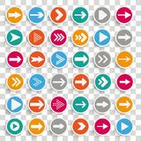 36 Paper Circles Arrows Set Transparent. 36 buttons with arrows on the checked background Royalty Free Stock Image