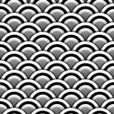 Paper circles with shadow in black and white seamless pattern, vector. Background Stock Photography