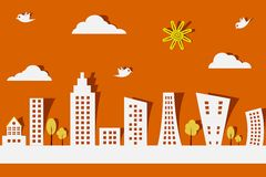 Paper City. Easy to edit vector illustration of cityscape made f paper vector illustration