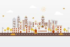 Paper City. Easy to edit vector illustration of cityscape made f paper stock illustration