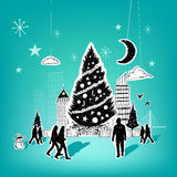 Paper City Christmas. Christmas themed hand drawn christmas vector elements Royalty Free Stock Photo