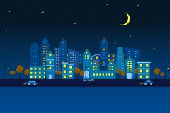 Paper City in Night view. Easy to edit vector illustration of cityscape made of paper in night view royalty free illustration