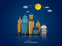 Paper City nightlife concept vector. Royalty Free Stock Images