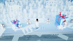 Paper city on table. Happy new year and xmas concept. Snowman and presents. 3d rendering. Paper city on table. Happy new year and xmas concept. Snowman and royalty free illustration