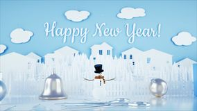 Paper city on table. Happy new year and xmas concept. Snowman and presents. 3d rendering. Paper city on table. Happy new year and xmas concept. Snowman and vector illustration
