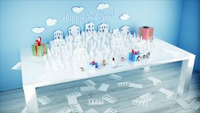 Paper city on table. Happy new year and xmas concept. Snowman and presents. 3d rendering. Paper city on table. Happy new year and xmas concept. Snowman and stock illustration