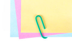 Paper Clip with Colorful Sticky Posts Stock Photo