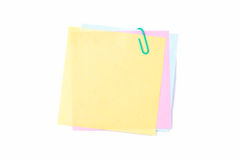 Paper Clip with Colorful Sticky Posts Royalty Free Stock Photos