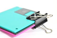 Paper clip and floppy disk  i Royalty Free Stock Image