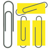 Paper clip isolated on paper Stock Photography