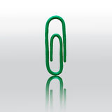 Paper clip. Vector. Green paper clip. Vector illustration. Plasticine modeling Royalty Free Stock Photo