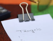 Paper clip with white paper Royalty Free Stock Photo