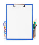 Paper clipboard and school supplies Stock Photos