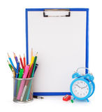 Paper clipboard and school supplies Stock Images