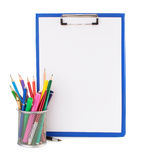 Paper clipboard and school supplies Stock Photo