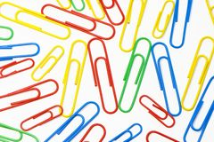 Paper clips. On a white background Royalty Free Stock Photography