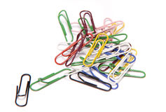 Paper clips. Colored paper clips on a white background stock photography