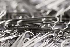 Paper clips. Few paper clips close up stock photography