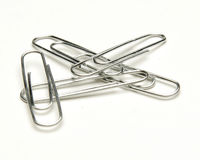 Paper clips. Everyday paperclips stock images