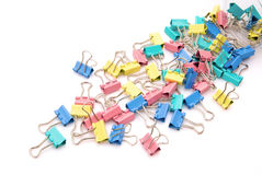 Paper clips. White background stationery Royalty Free Stock Photos