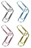 Paper Clips. Two paper clips hooked together. Four Colour - Normal, Cyan (blue), Magenta (red), Yellow. CMYN Soft Focus on Joint Royalty Free Stock Photography